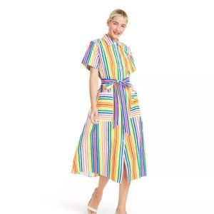 Striped Short Sleeve Shirtdress